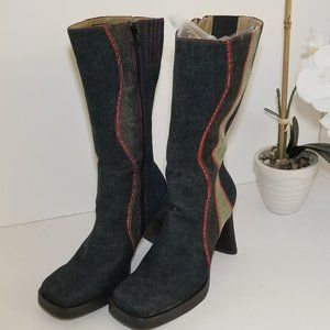 Seychelles Blue Navy Fabric Boots